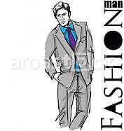 Sketch of fashion handsome man