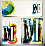 Artistic Greeting Card Font vector Illustration - Letter M