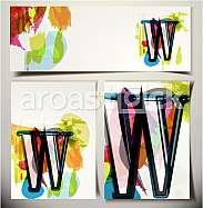 Artistic Greeting Card Font vector Illustration - Letter W