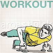 illustration of Man doing push-ups bars