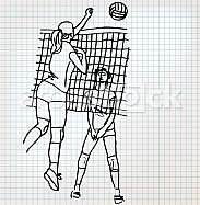 Girls playing volleyball sketch illustration