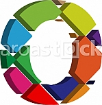 Colorful three-dimensional font letter O