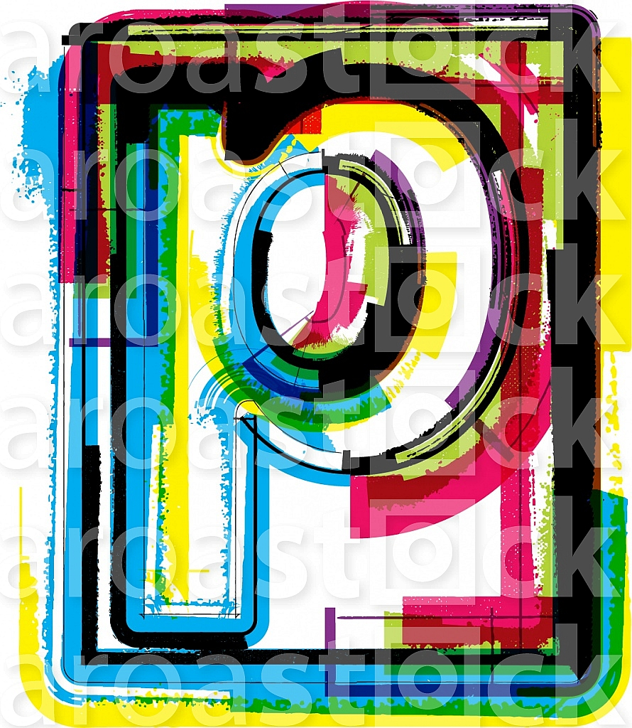 Colorful Grunge Font LETTER p