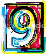 Colorful Grunge Font NUMBER 9
