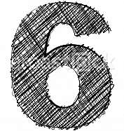 Hand draw font. NUMBER 6