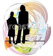 Mom & daughter illustration