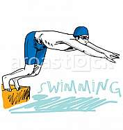 Swimmer jumping