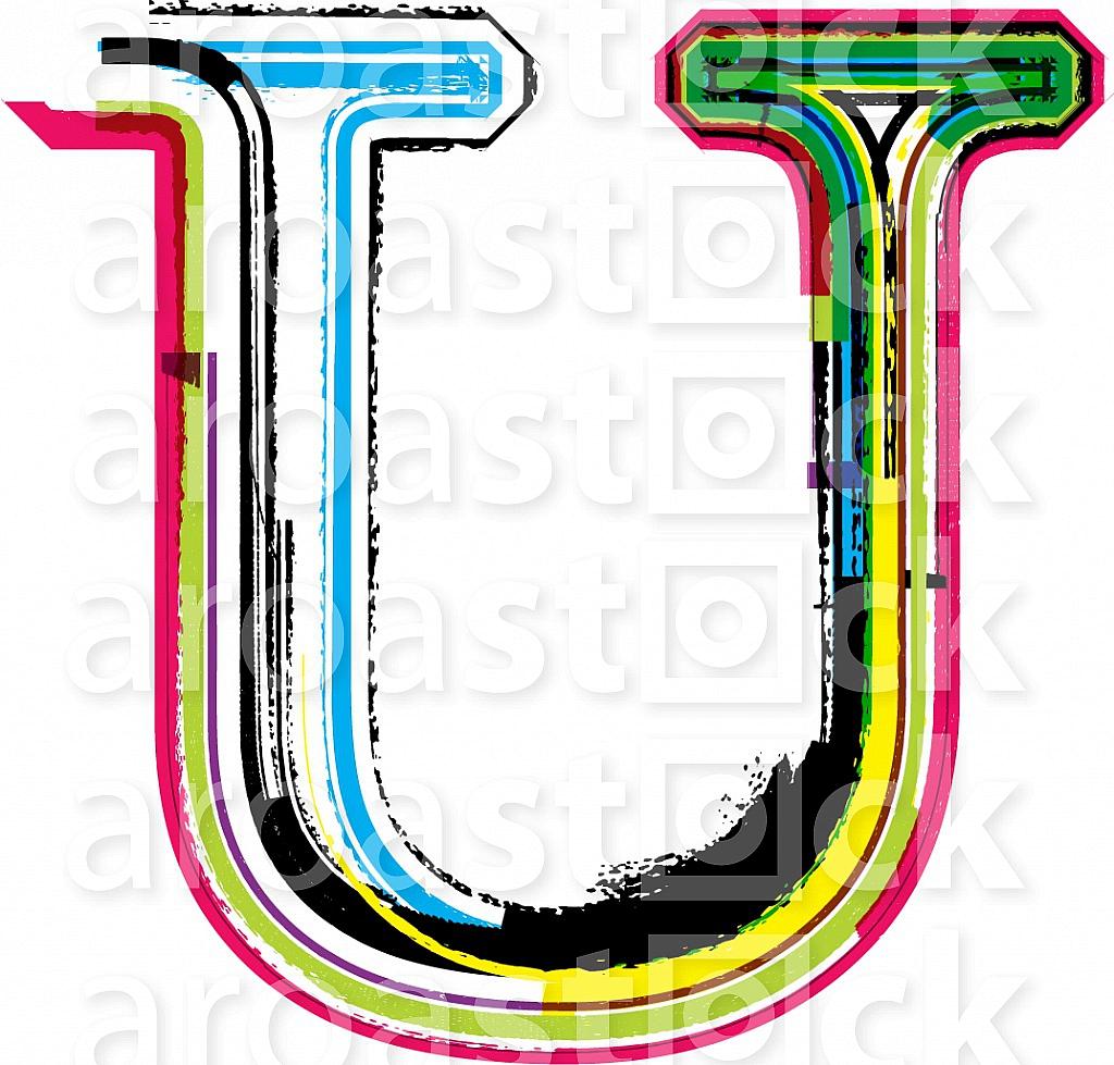 Font illustration, letter U