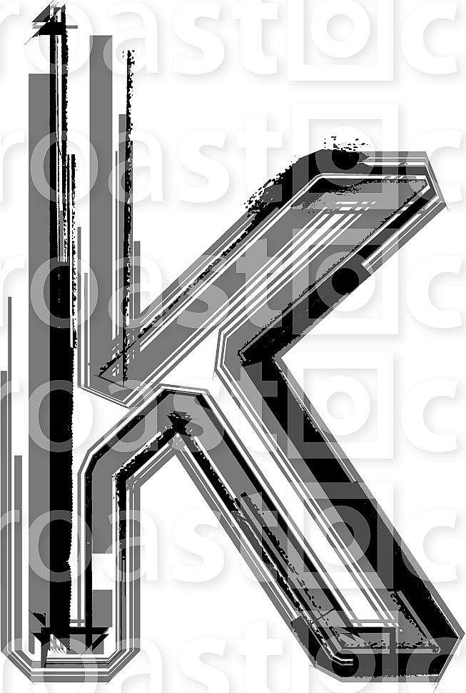 Grunge Font. Letter k