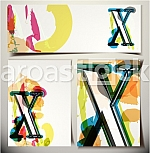 Artistic Greeting Card Font vector Illustration - Letter X