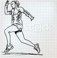 female runner sketch illustration