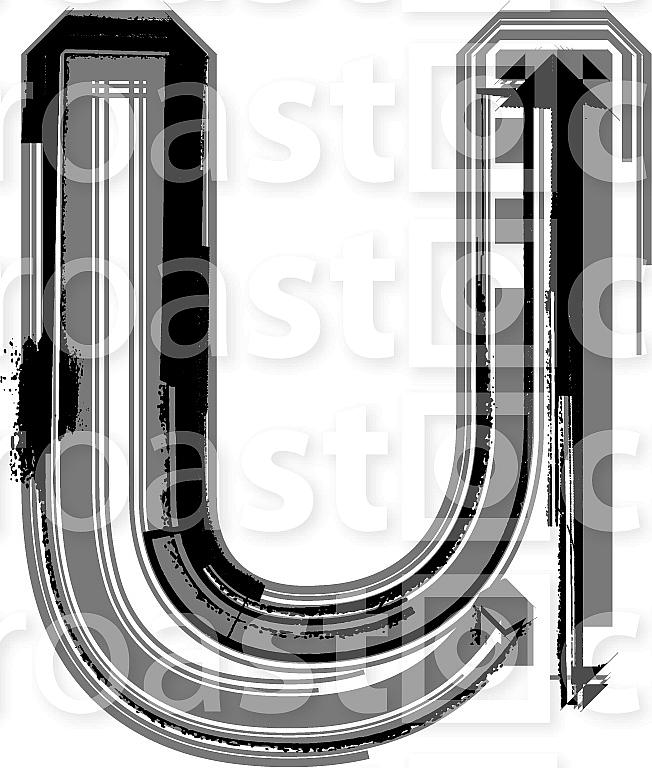 Grunge Font. Letter u