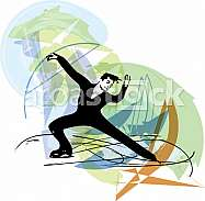 abstract illustration of man ice skater skating  at colorful sports arena