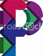Colorful three-dimensional font letter P