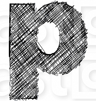 Hand draw font. LETTER p