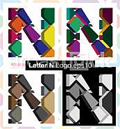 Colorful three-dimensional font letter N
