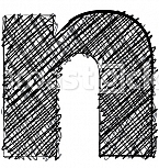 Hand draw font. LETTER n