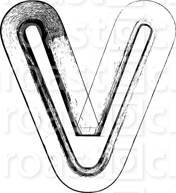 Grunge Font. Letter v