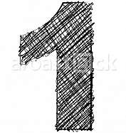 Hand draw font. NUMBER 1