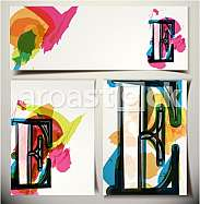 Artistic Greeting Card Font vector Illustration - Letter E