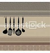 Rack of kitchen utensils