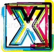 Colorful Grunge Font LETTER X