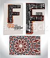 Ancient Business card design LETTER f