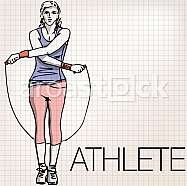 Illustration of woman training with jump rope