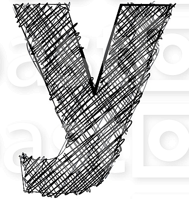 Hand draw font. LETTER y
