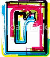 Colorful Grunge Font LETTER r