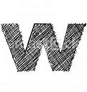 Hand draw font. LETTER w