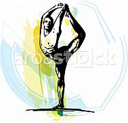 Yoga sketch illustration with abstract colorful background
