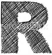 Hand draw font. LETTER R