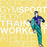 Illustration of Man doing stretching exercises at the gym