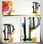 Artistic Greeting Card Font vector Illustration - Letter P