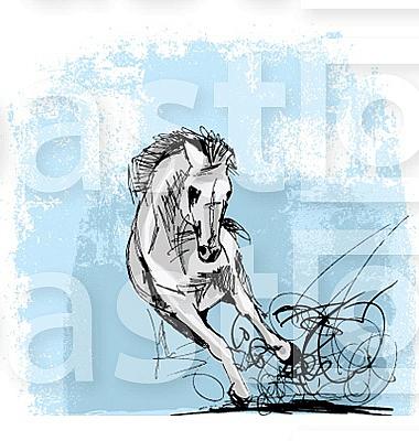 Sketch of horses running