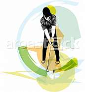 Man playing golf abstract illustration