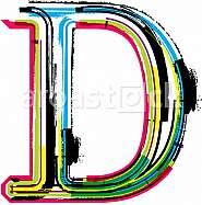 Font illustration, letter D