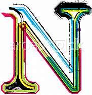 Font illustration, letter N