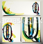 Artistic Greeting Card Font vector Illustration - Letter Q