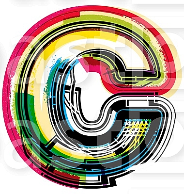 Colorful Grunge LETTER c