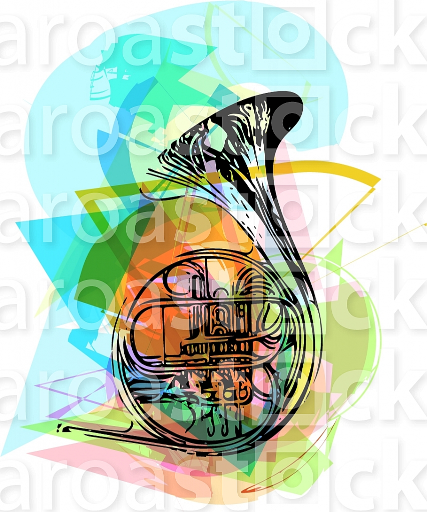 colorful trumpet illustration on abstract background
