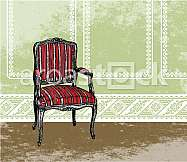 Interior design scene with an armchair. Vector illustration