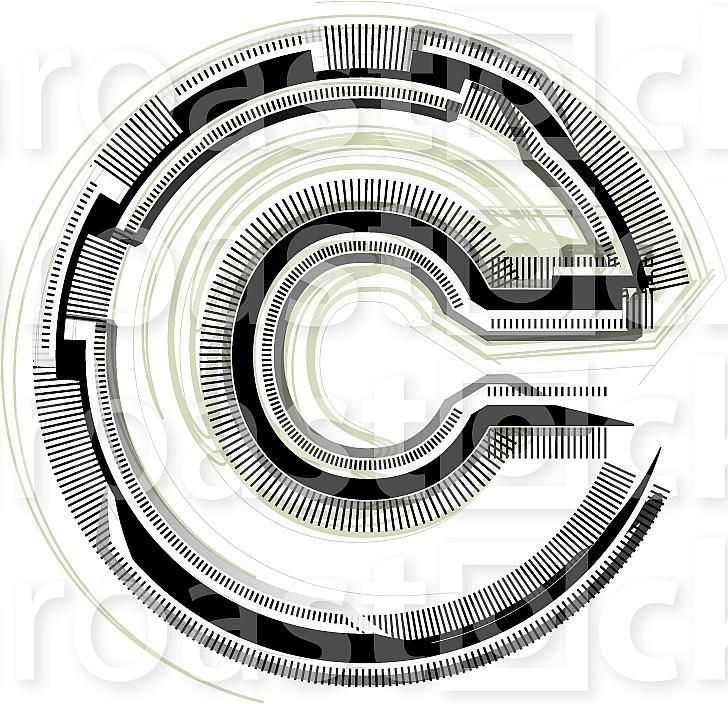 Font illustration. Letter c