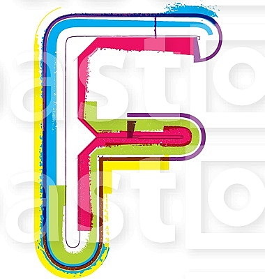 Colorful Grunge LETTER F