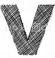 Hand draw font. LETTER V