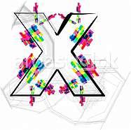 Font illustration, letter x