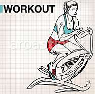 Fitness center young woman exercise