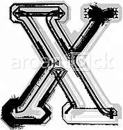Grunge font. Letter X