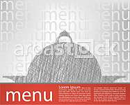 Food tray illustration, menu template